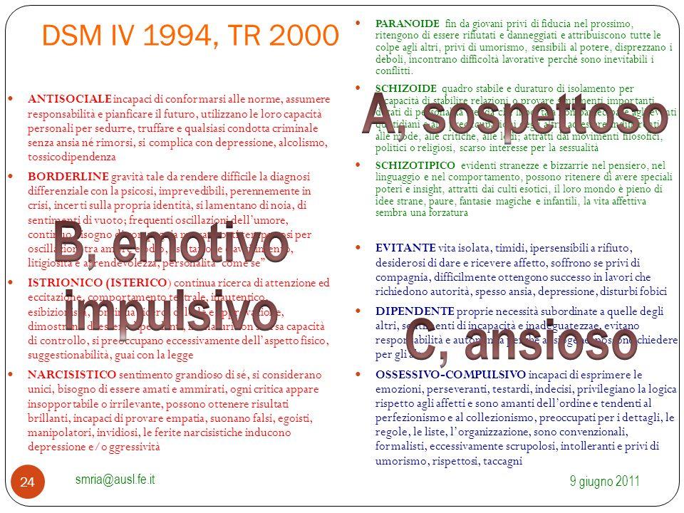 DSM IV 1994, TR 2000 ANTISOCIALE incapaci di conformarsi alle norme, assumere responsabilità e pianficare il futuro, utilizzano le loro capacità perso