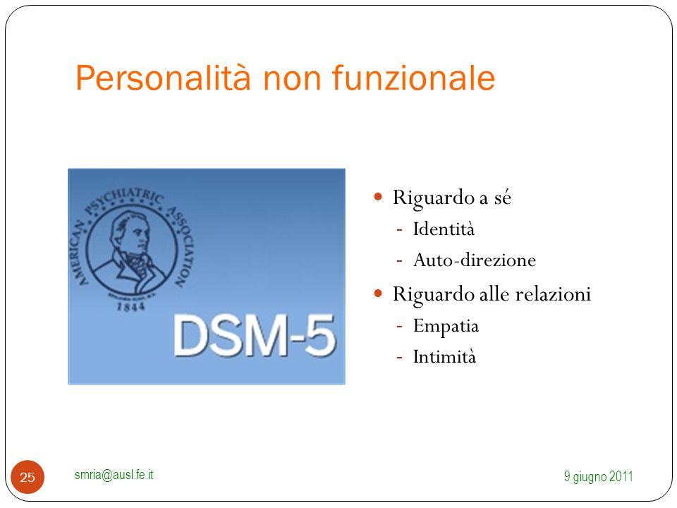 Personalità non funzionale Riguardo a sé - Identità - Auto-direzione Riguardo alle relazioni - Empatia - Intimità 9 giugno 2011 smria@ausl.fe.it 25