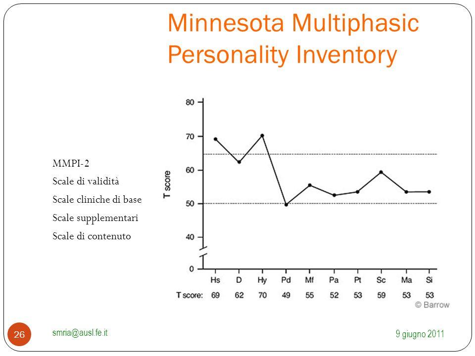 Minnesota Multiphasic Personality Inventory MMPI-2 Scale di validità Scale cliniche di base Scale supplementari Scale di contenuto 9 giugno 2011 smria