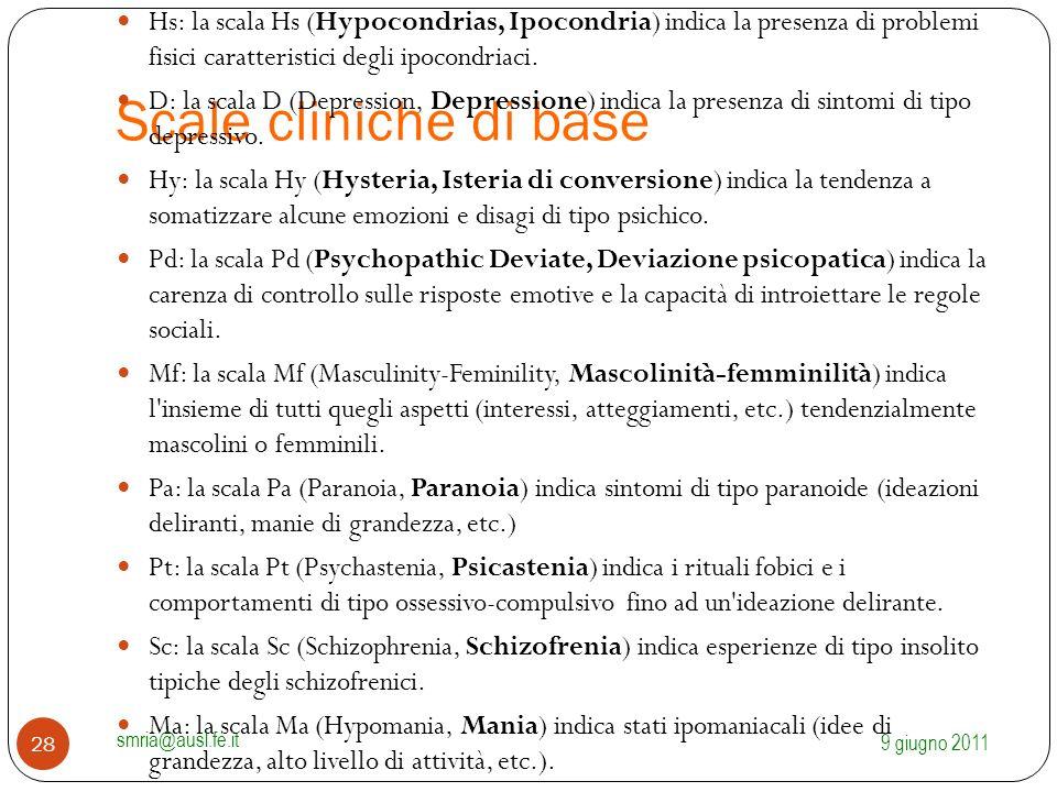 Scale cliniche di base Hs: la scala Hs (Hypocondrias, Ipocondria) indica la presenza di problemi fisici caratteristici degli ipocondriaci. D: la scala