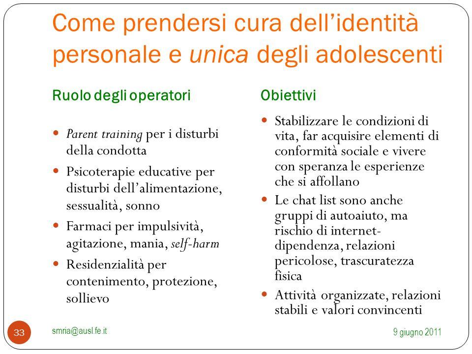 Come prendersi cura dell'identità personale e unica degli adolescenti Ruolo degli operatoriObiettivi Parent training per i disturbi della condotta Psi