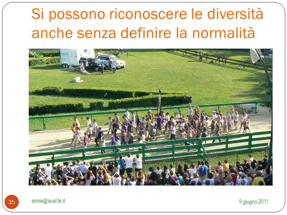 Si possono riconoscere le diversità anche senza definire la normalità 9 giugno 2011 smria@ausl.fe.it 35