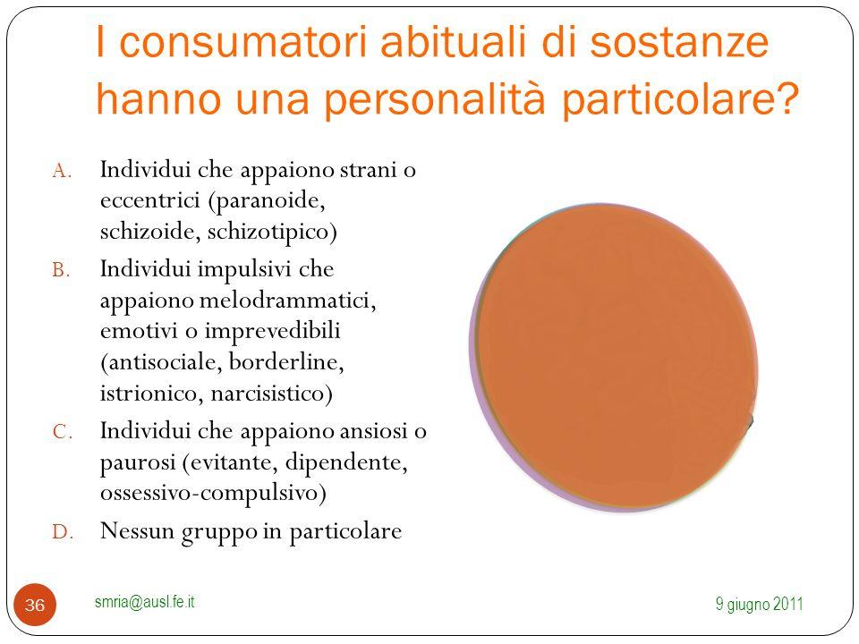 I consumatori abituali di sostanze hanno una personalità particolare? A. Individui che appaiono strani o eccentrici (paranoide, schizoide, schizotipic