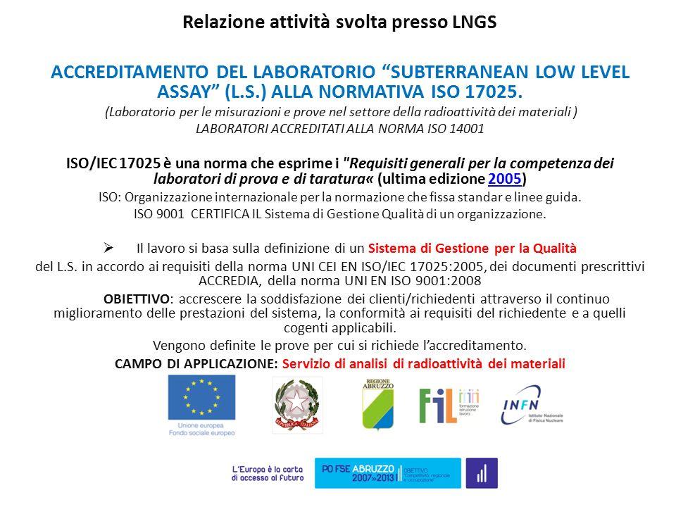 """Relazione attività svolta presso LNGS ACCREDITAMENTO DEL LABORATORIO """"SUBTERRANEAN LOW LEVEL ASSAY"""" (L.S.) ALLA NORMATIVA ISO 17025. (Laboratorio per"""