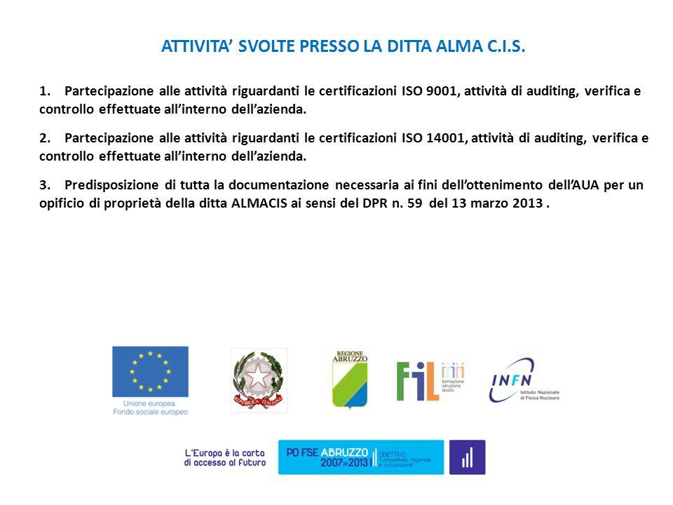 1.Partecipazione alle attività riguardanti le certificazioni ISO 9001, attività di auditing, verifica e controllo effettuate all'interno dell'azienda.