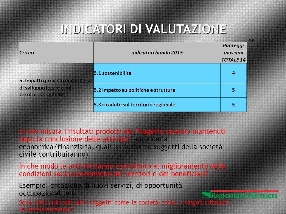 INDICATORI DI VALUTAZIONE 16 Criteriindicatori bando 2015 Punteggi massimi TOTALE 14 5.