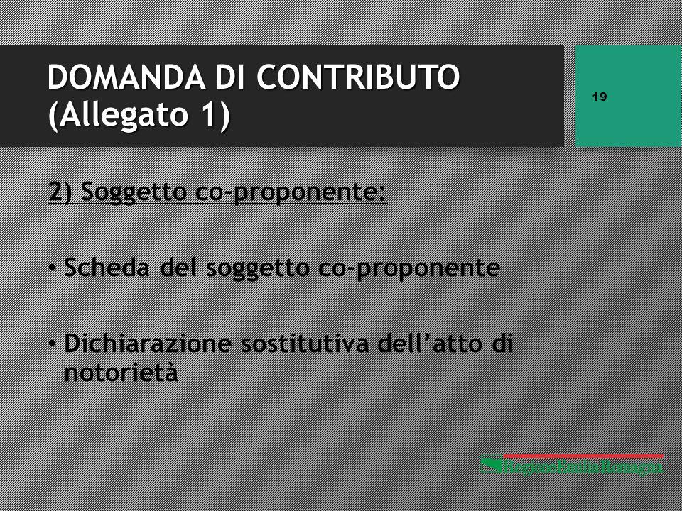 DOMANDA DI CONTRIBUTO (Allegato 1) 2) Soggetto co-proponente: Scheda del soggetto co-proponente Dichiarazione sostitutiva dell'atto di notorietà 19