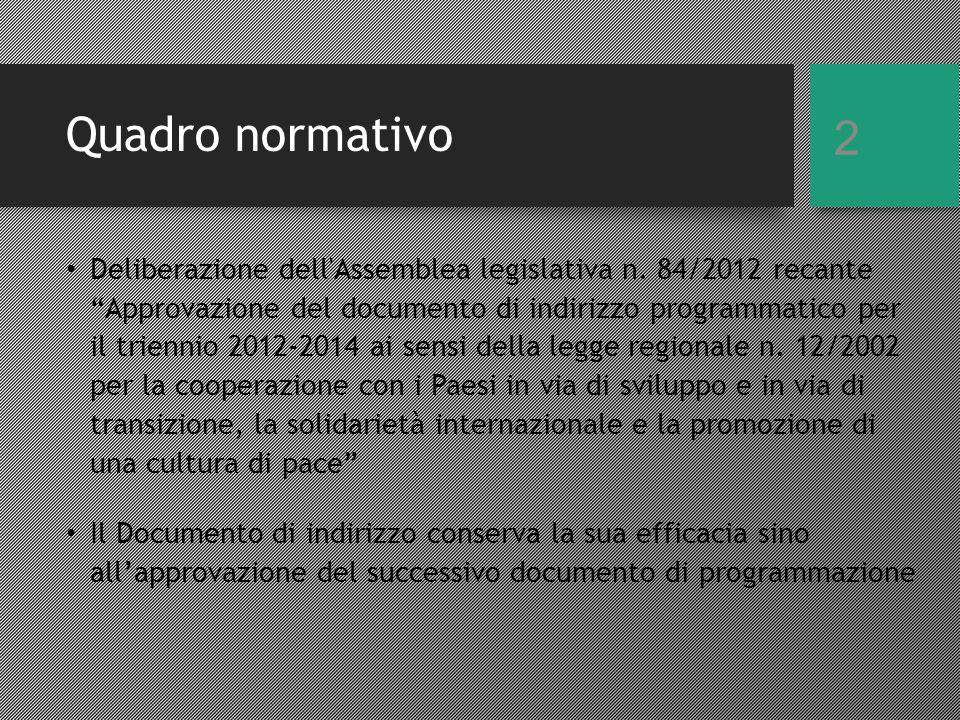 Quadro normativo Deliberazione dell Assemblea legislativa n.