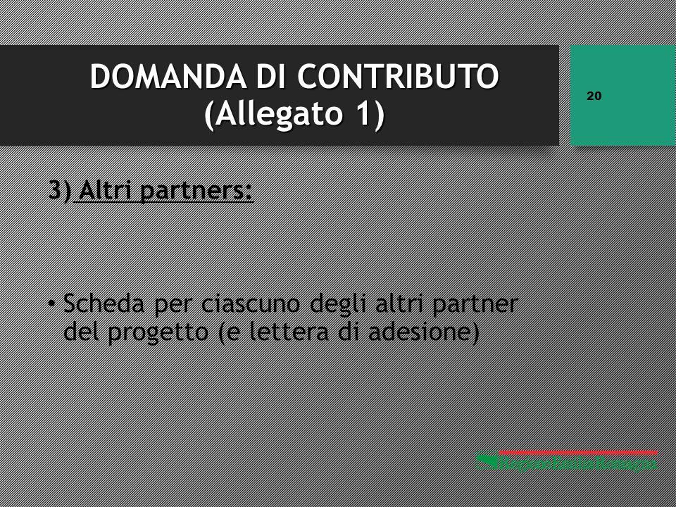 DOMANDA DI CONTRIBUTO (Allegato 1) 3) Altri partners: Scheda per ciascuno degli altri partner del progetto (e lettera di adesione) 20