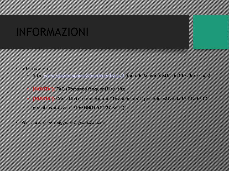 INFORMAZIONI Informazioni: Sito: www.spaziocooperazionedecentrata.it (include la modulistica in file.doc e.xls)www.spaziocooperazionedecentrata.it [NOVITA']: FAQ (Domande frequenti) sul sito [NOVITA']: Contatto telefonico garantito anche per il periodo estivo dalle 10 alle 13 giorni lavorativi: (TELEFONO 051 527 3614) Per il futuro  maggiore digitalizzazione