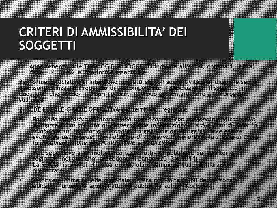 CRITERI DI AMMISSIBILITA' DEI SOGGETTI 1.Appartenenza alle TIPOLOGIE DI SOGGETTI indicate all'art.4, comma 1, lett.a) della L.R.
