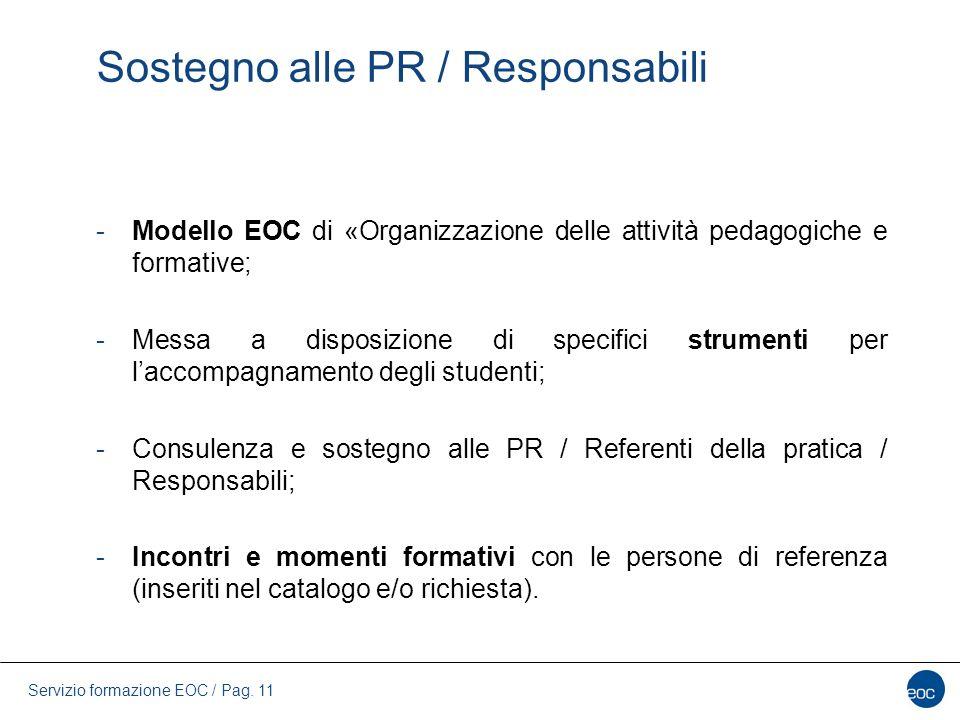 Servizio formazione EOC / Pag. 11 Sostegno alle PR / Responsabili -Modello EOC di «Organizzazione delle attività pedagogiche e formative; -Messa a dis