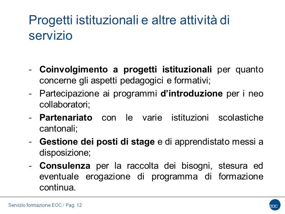 Servizio formazione EOC / Pag. 12 Progetti istituzionali e altre attività di servizio -Coinvolgimento a progetti istituzionali per quanto concerne gli