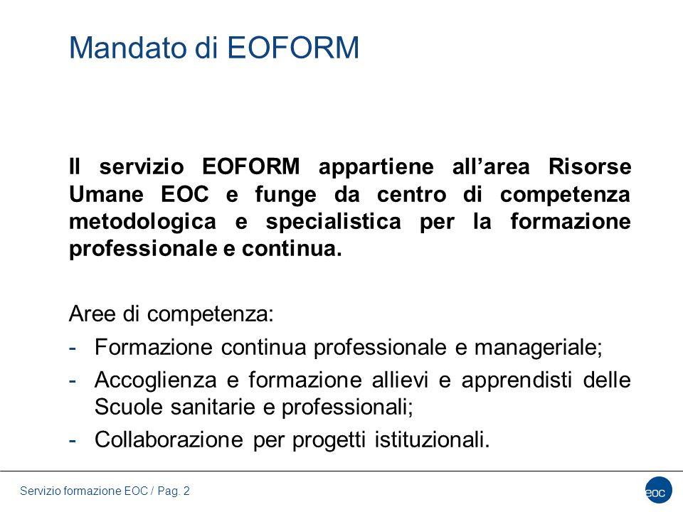 Servizio formazione EOC / Pag. 2 Mandato di EOFORM Il servizio EOFORM appartiene all'area Risorse Umane EOC e funge da centro di competenza metodologi