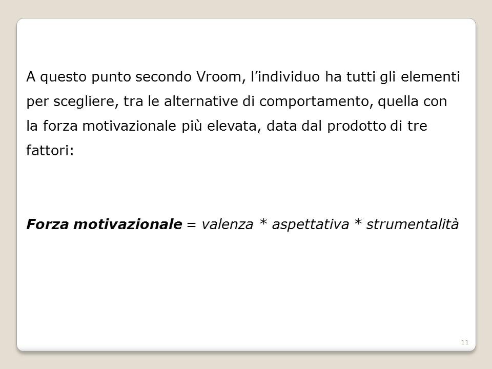 A questo punto secondo Vroom, l'individuo ha tutti gli elementi per scegliere, tra le alternative di comportamento, quella con la forza motivazionale