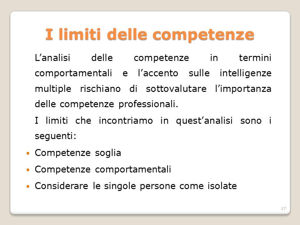 I limiti delle competenze L'analisi delle competenze in termini comportamentali e l'accento sulle intelligenze multiple rischiano di sottovalutare l'i