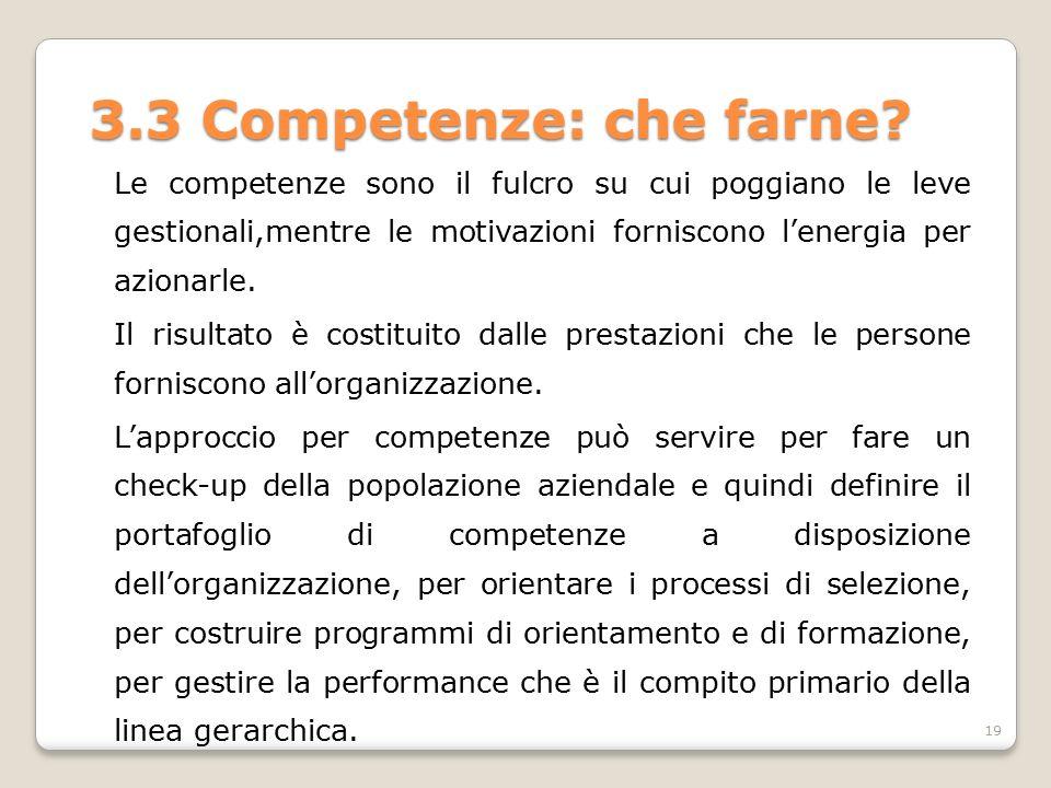 3.3 Competenze: che farne? Le competenze sono il fulcro su cui poggiano le leve gestionali,mentre le motivazioni forniscono l'energia per azionarle. I