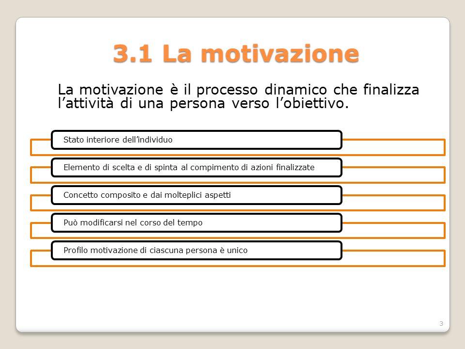 3.1 La motivazione La motivazione è il processo dinamico che finalizza l'attività di una persona verso l'obiettivo. Stato interiore dell'individuoElem