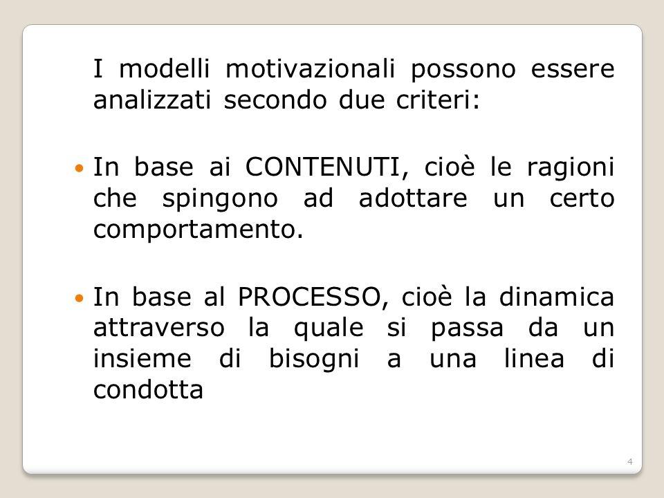 I modelli motivazionali possono essere analizzati secondo due criteri: In base ai CONTENUTI, cioè le ragioni che spingono ad adottare un certo comport