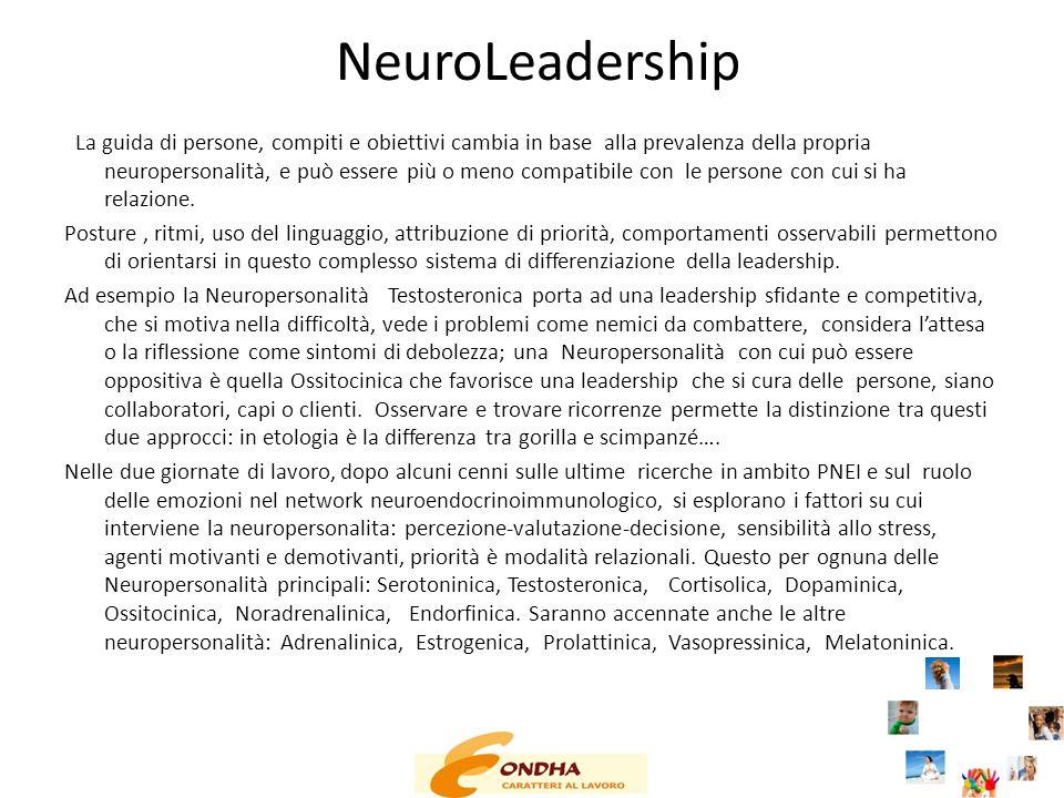 NeuroLeadership La guida di persone, compiti e obiettivi cambia in base alla prevalenza della propria neuropersonalità, e può essere più o meno compat