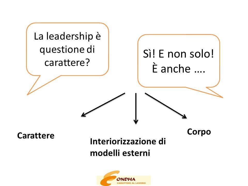 Sì! E non solo! È anche …. La leadership è questione di carattere? Carattere Interiorizzazione di modelli esterni Corpo
