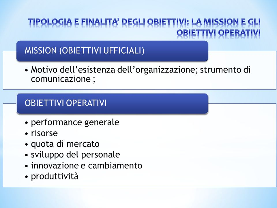 Motivo dell'esistenza dell'organizzazione; strumento di comunicazione ; MISSION (OBIETTIVI UFFICIALI) performance generale risorse quota di mercato sv