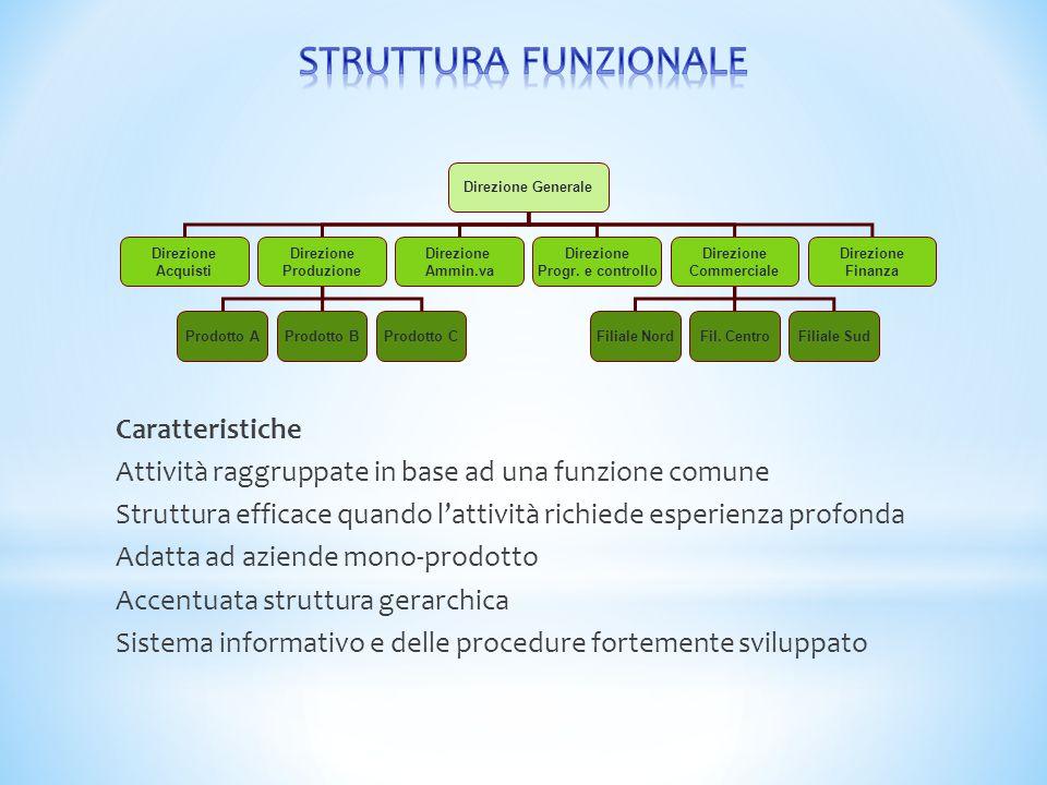 Caratteristiche Attività raggruppate in base ad una funzione comune Struttura efficace quando l'attività richiede esperienza profonda Adatta ad aziend