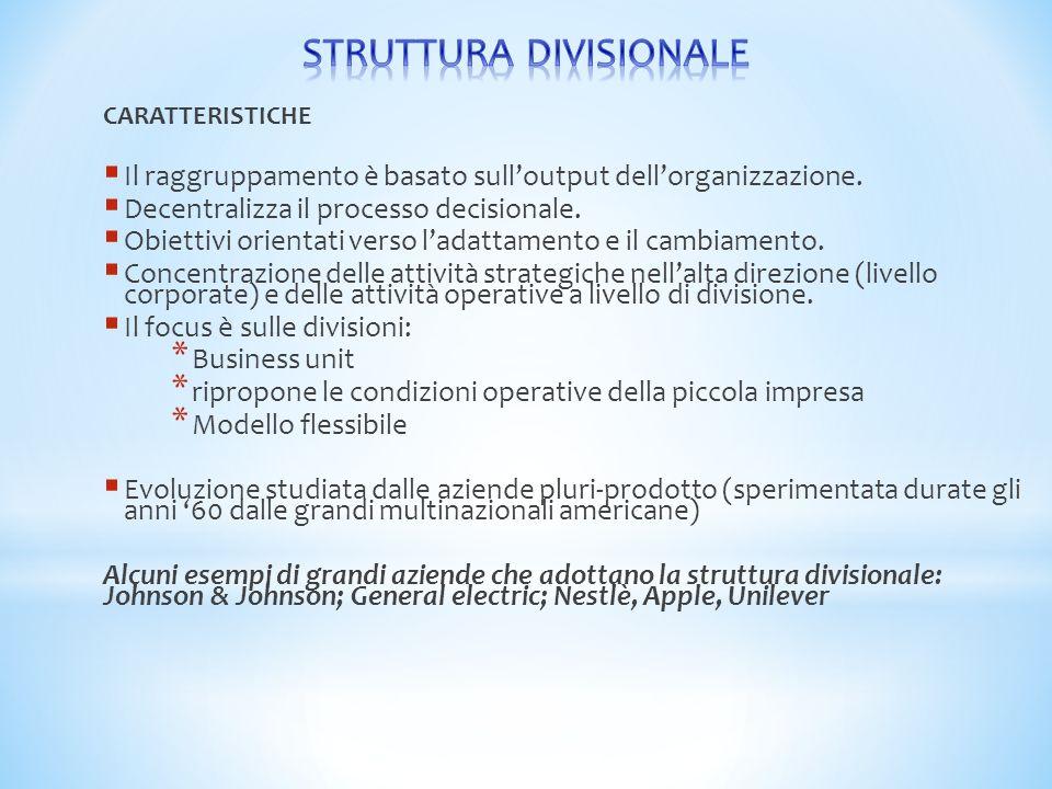 CARATTERISTICHE  Il raggruppamento è basato sull'output dell'organizzazione.  Decentralizza il processo decisionale.  Obiettivi orientati verso l'a