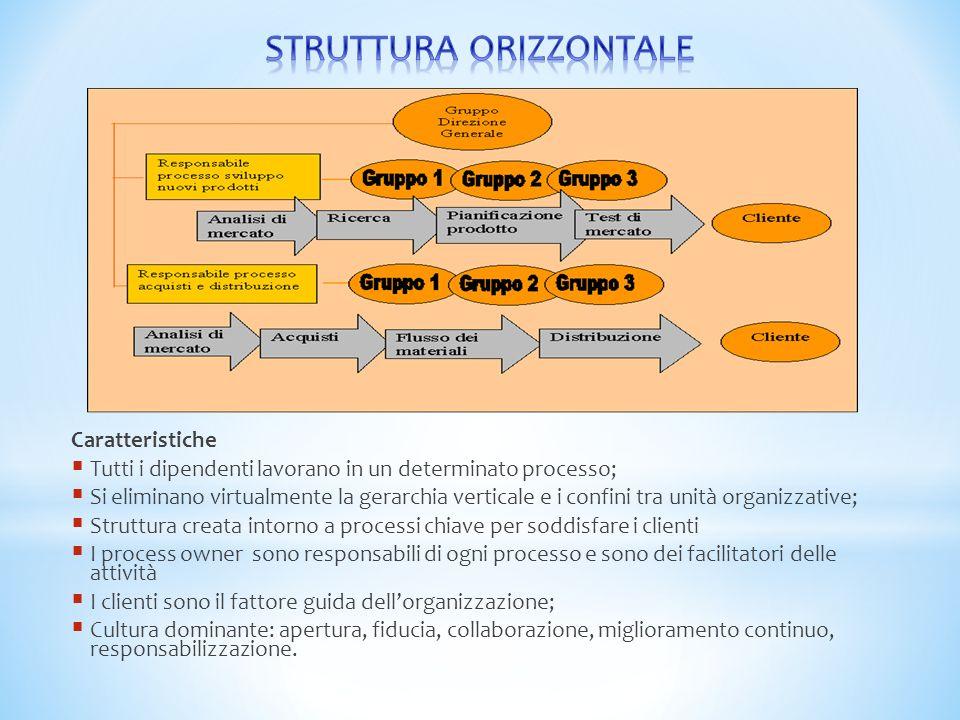 Caratteristiche  Tutti i dipendenti lavorano in un determinato processo;  Si eliminano virtualmente la gerarchia verticale e i confini tra unità org