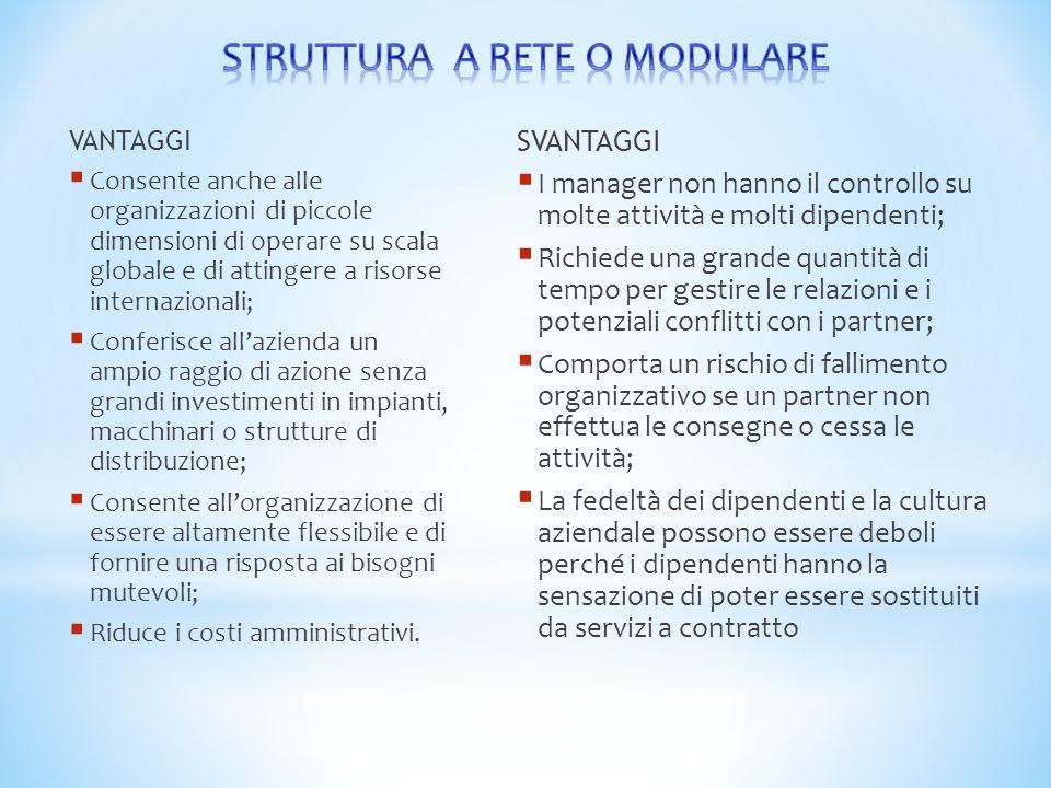 VANTAGGI  Consente anche alle organizzazioni di piccole dimensioni di operare su scala globale e di attingere a risorse internazionali;  Conferisce