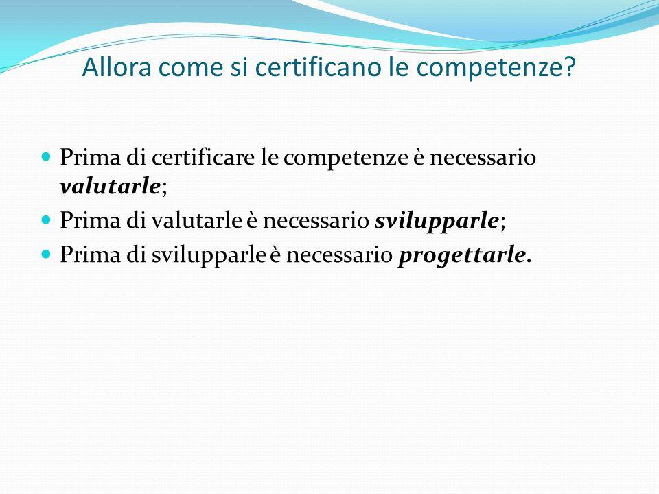 Allora come si certificano le competenze? Prima di certificare le competenze è necessario valutarle; Prima di valutarle è necessario svilupparle; Prim