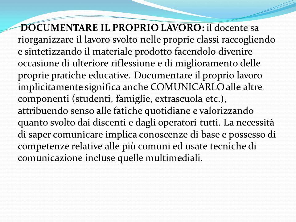 DOCUMENTARE IL PROPRIO LAVORO: il docente sa riorganizzare il lavoro svolto nelle proprie classi raccogliendo e sintetizzando il materiale prodotto fa