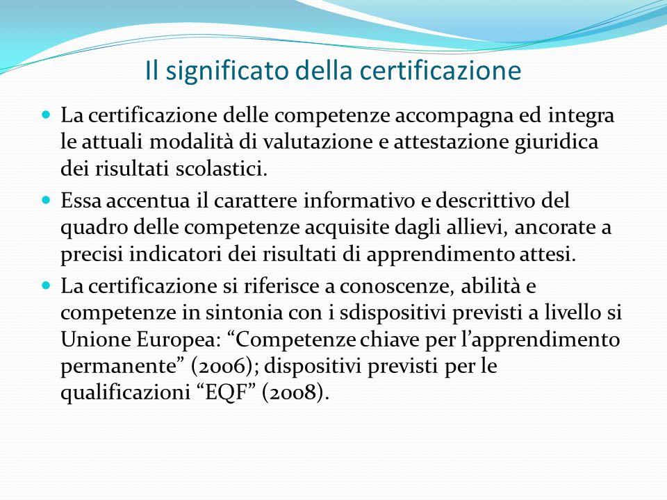 Il significato della certificazione La certificazione delle competenze accompagna ed integra le attuali modalità di valutazione e attestazione giuridica dei risultati scolastici.