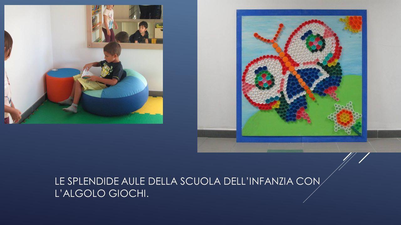 LE SPLENDIDE AULE DELLA SCUOLA DELL'INFANZIA CON L'ALGOLO GIOCHI.