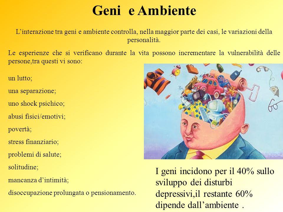 Geni e Ambiente L'interazione tra geni e ambiente controlla, nella maggior parte dei casi, le variazioni della personalità.