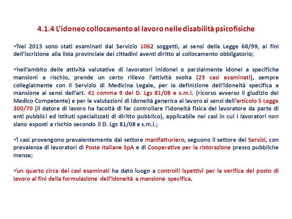 4.1.4 L'idoneo collocamento al lavoro nelle disabilità psicofisiche Nel 2013 sono stati esaminati dal Servizio 1062 soggetti, ai sensi della Legge 68/