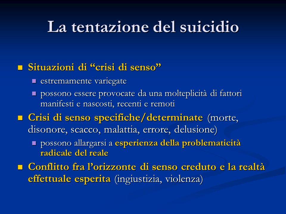 """La tentazione del suicidio Situazioni di """"crisi di senso"""" Situazioni di """"crisi di senso"""" estremamente variegate estremamente variegate possono essere"""