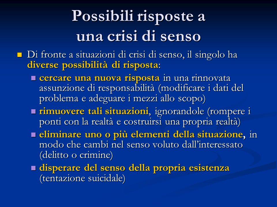 Possibili risposte a una crisi di senso Di fronte a situazioni di crisi di senso, il singolo ha diverse possibilità di risposta: Di fronte a situazion