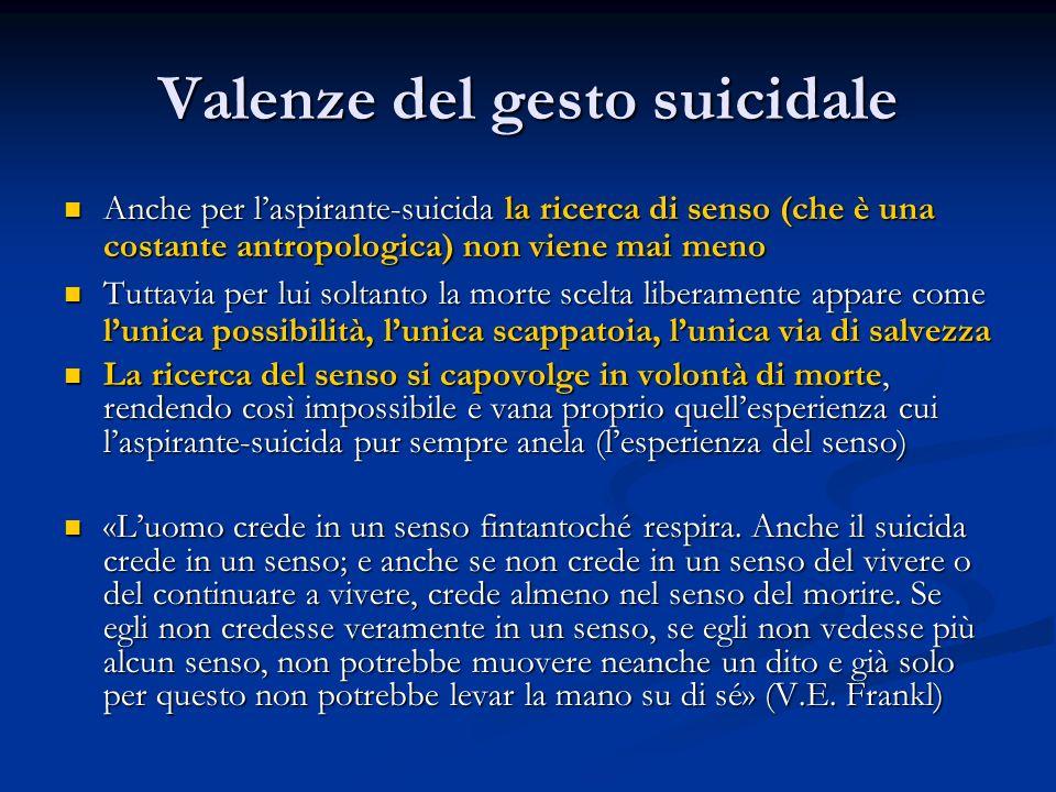 Valenze del gesto suicidale Anche per l'aspirante-suicida la ricerca di senso (che è una costante antropologica) non viene mai meno Anche per l'aspira