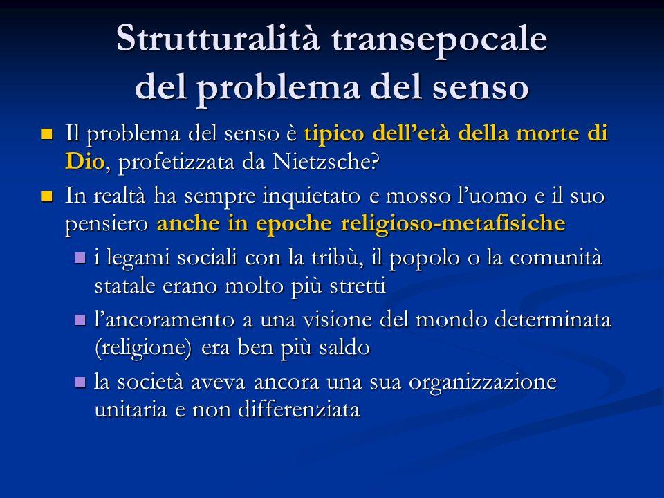 Strutturalità transepocale del problema del senso Il problema del senso è tipico dell'età della morte di Dio, profetizzata da Nietzsche.