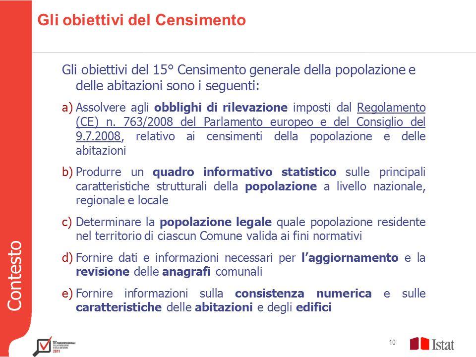 Contesto 10 Gli obiettivi del Censimento Gli obiettivi del 15° Censimento generale della popolazione e delle abitazioni sono i seguenti: a)Assolvere agli obblighi di rilevazione imposti dal Regolamento (CE) n.