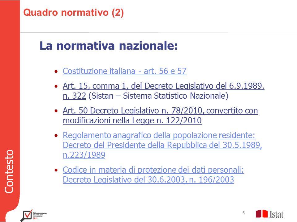 Contesto 6 Quadro normativo (2) La normativa nazionale: Costituzione italiana - art.