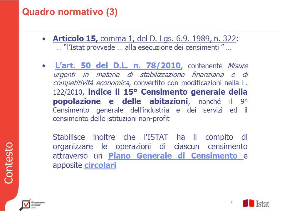 Contesto 7 Quadro normativo (3) Articolo 15, comma 1, del D.