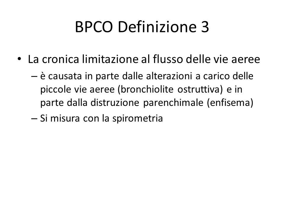 BPCO Definizione 3 La cronica limitazione al flusso delle vie aeree – è causata in parte dalle alterazioni a carico delle piccole vie aeree (bronchiolite ostruttiva) e in parte dalla distruzione parenchimale (enfisema) – Si misura con la spirometria