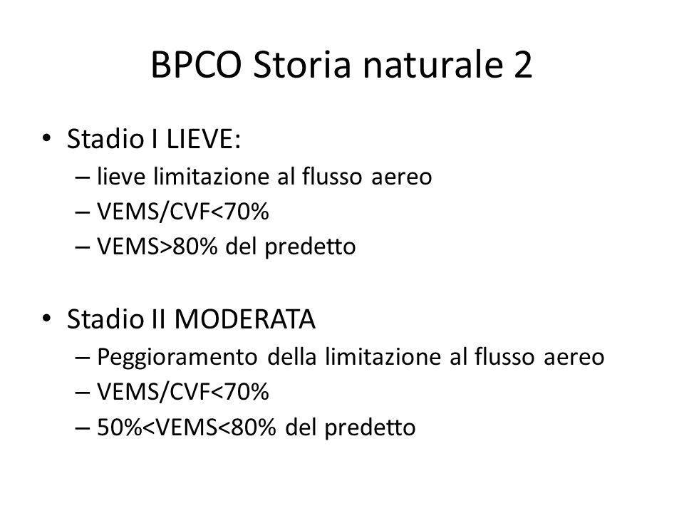BPCO Storia naturale 2 Stadio I LIEVE: – lieve limitazione al flusso aereo – VEMS/CVF<70% – VEMS>80% del predetto Stadio II MODERATA – Peggioramento della limitazione al flusso aereo – VEMS/CVF<70% – 50%<VEMS<80% del predetto