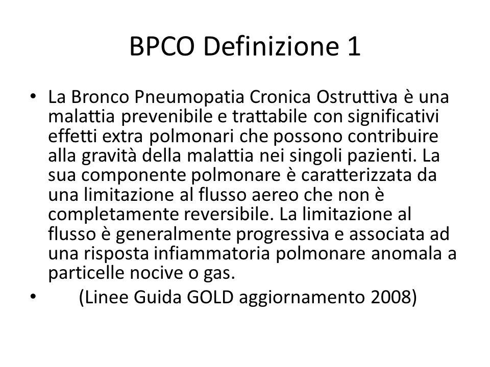BPCO Definizione 1 La Bronco Pneumopatia Cronica Ostruttiva è una malattia prevenibile e trattabile con significativi effetti extra polmonari che possono contribuire alla gravità della malattia nei singoli pazienti.