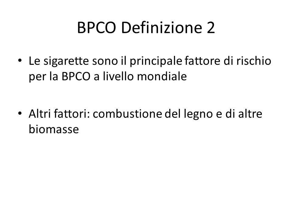 BPCO Definizione 2 Le sigarette sono il principale fattore di rischio per la BPCO a livello mondiale Altri fattori: combustione del legno e di altre biomasse