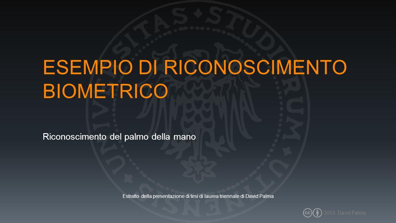 2015 David Palma2 SISTEMA DI RICONOSCIMENTO Il sistema di riconoscimento biometrico proposto consta di quattro macro fasi UTENTE ACQUISIZIONEPREPROCESSING FEATURE EXTRACTION MATCHING 1-TO-1 IDENTITÀ CONFERMATA / NON CONFERMATA IDENTITÀ DICHIARATA SISTEMA DI RICONOSCIMENTO