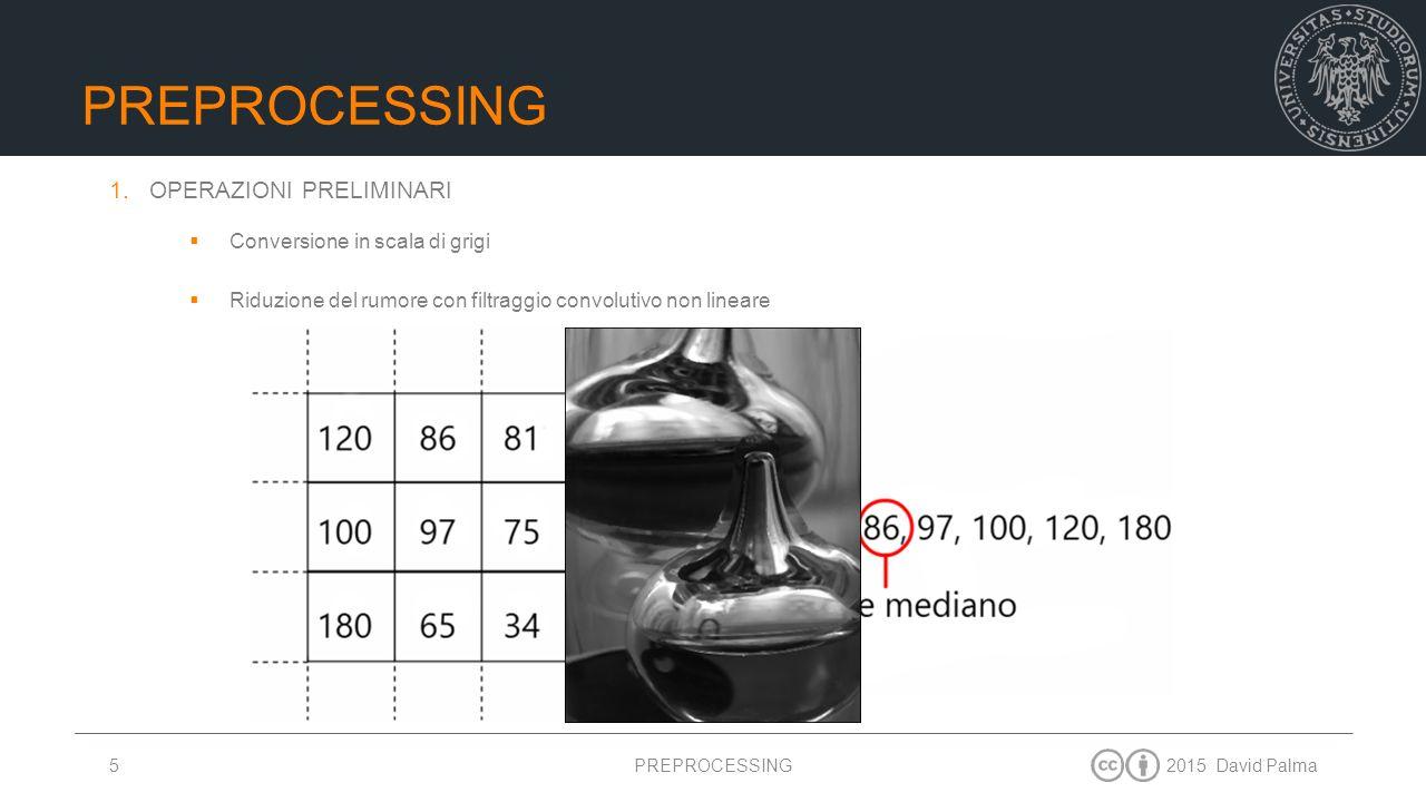 2015 David Palma6 PREPROCESSING 2.BINARIZZAZIONE  Calcolo del valore di soglia di binarizzazione col metodo di Otsu Soglia adattivaSoglia globale Sogliatura locale adattiva PREPROCESSING