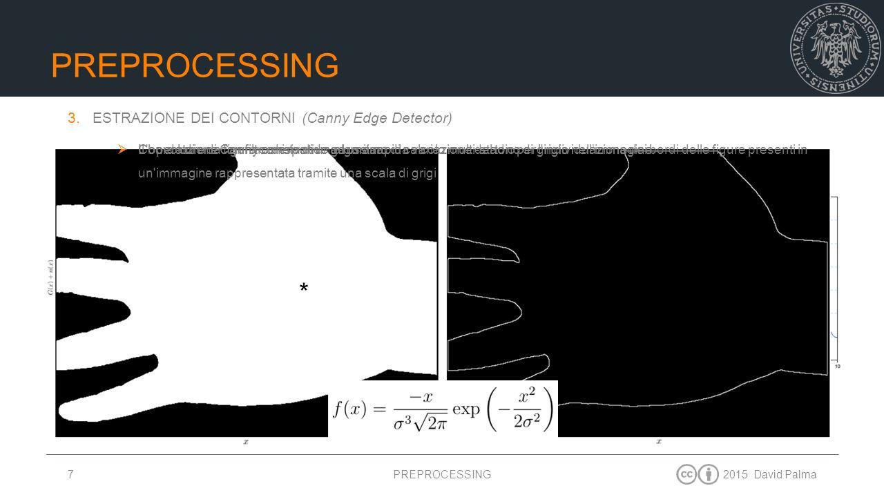 2015 David Palma7 RUMORE ADDITIVO IDEALE PREPROCESSING  L'operatore di Canny consta di un algoritmo di calcolo multi-stadio per l'individuazione dei